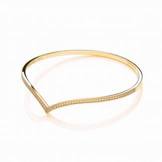 Gold Plated Stone Set Wishbone Bangle BBA002
