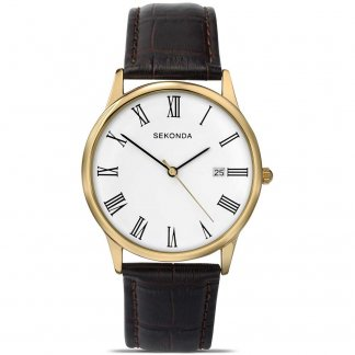 Gold Plated Traditional Men's Strap Watch