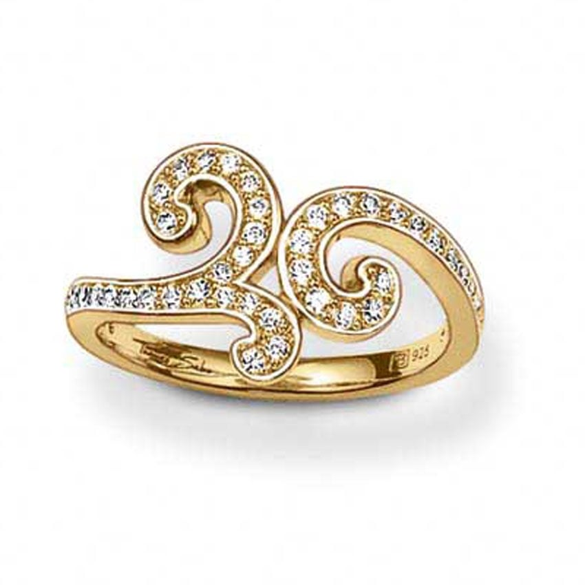 Thomas Sabo Gold Stone Set Floral Swirl Ring TR1953-414-14