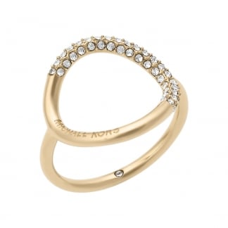 Gold Stone Set Open Circle Ring