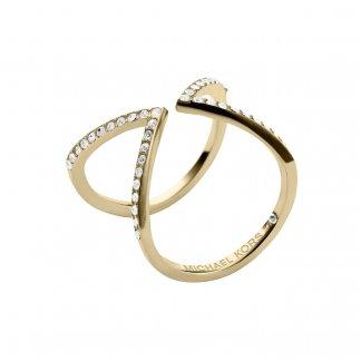 Gold Tone CZ Arrow Motif Ring MKJ3749710