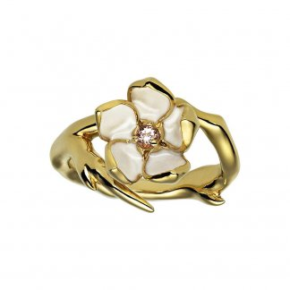 Gold Vermeil Cherry Blossom Ring with Topaz