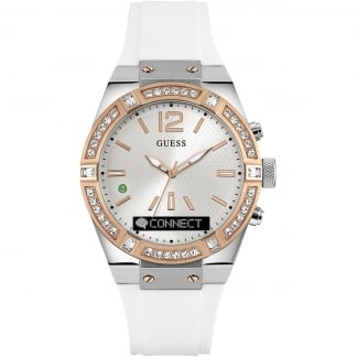 Ladies CONNECT Stone Set White & Rose Gold 41mm Smartwatch