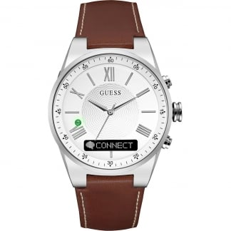 Unisex CONNECT Brown Leather 43mm Smartwatch