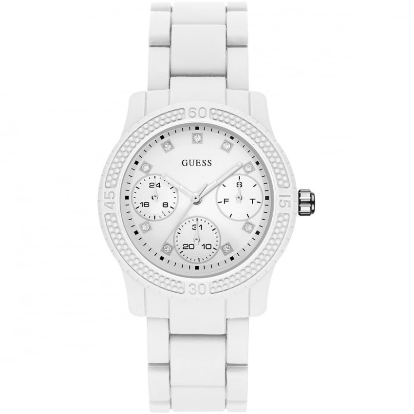 Guess Ladies All White Multifunction Funfetti Watch W0944L1