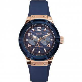 Ladies Blue Silicone Multi-Function Jet Setter Watch W0571L1