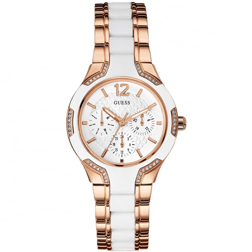 Guess Ladies Centre Stage Rose & White Multi-Function Watch W0556L3