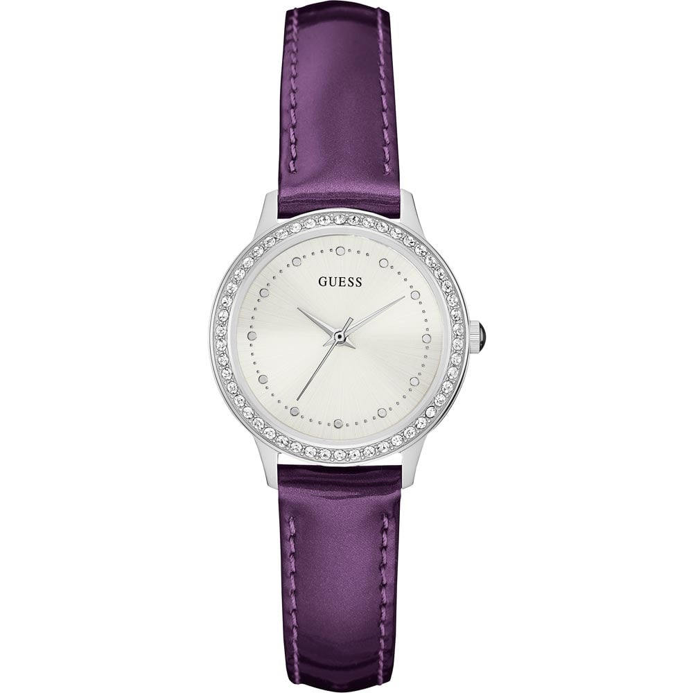 Guess Ladies Chelsea Purple Leather Strap Watch - Watches ...