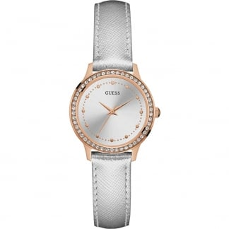 Ladies Chelsea Silver Leather Rose PVD Watch W0648L11