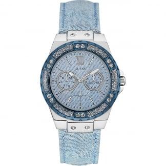 Ladies Confetti Blue Denim Multi-Function Watch W0775L1