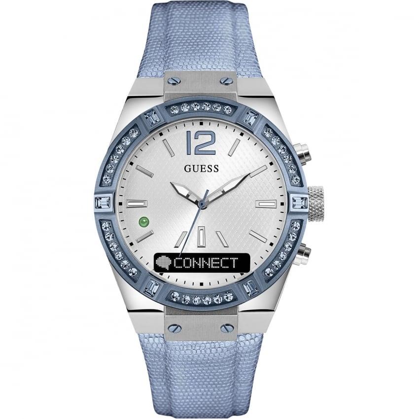 Guess Ladies CONNECT Pale Blue Stone Set 41mm Smartwatch C0002M5