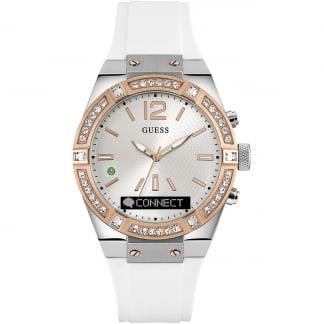 Ladies CONNECT Stone Set White & Rose Gold 41mm Smartwatch C0002M2