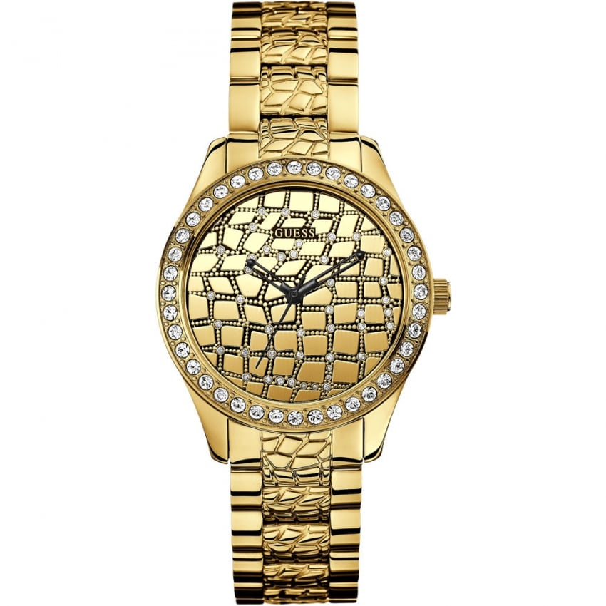 Guess Ladies Croco Glam Gold Crystal Set Watch W0236L2