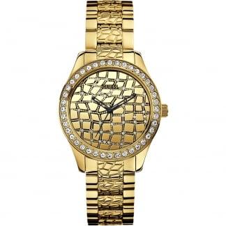 Ladies Croco Glam Gold Crystal Set Watch W0236L2