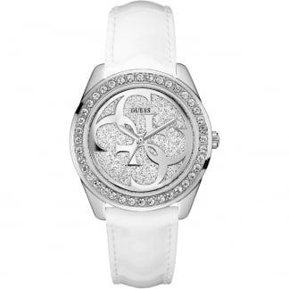 Ladies G-Twist White Leather Stone Set Watch W0627L4