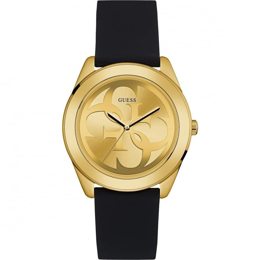 Guess Ladies Twist Black Leather Gold Tone Watch W0911L3