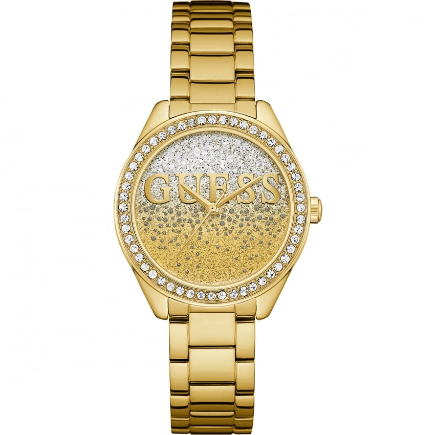 Guess Ladies Gold Plated Glitter Girl Watch W0987L2