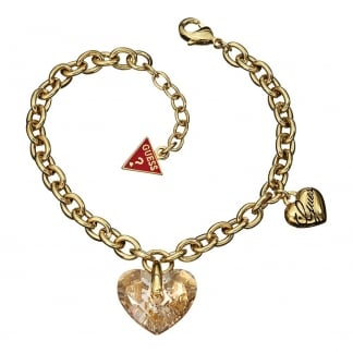 Ladies Gold 'Shimmering Heart' Bracelet