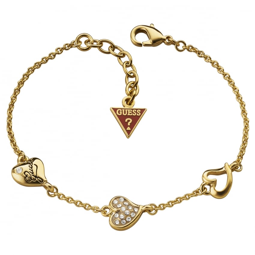 Guess Ladies Gold Triple Heart Bracelet
