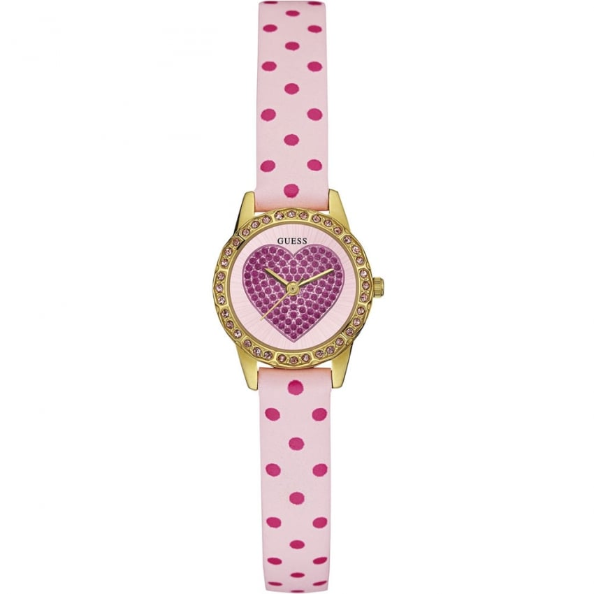 Guess Ladies Harper Pokka Dot Heart Watch W0731L1