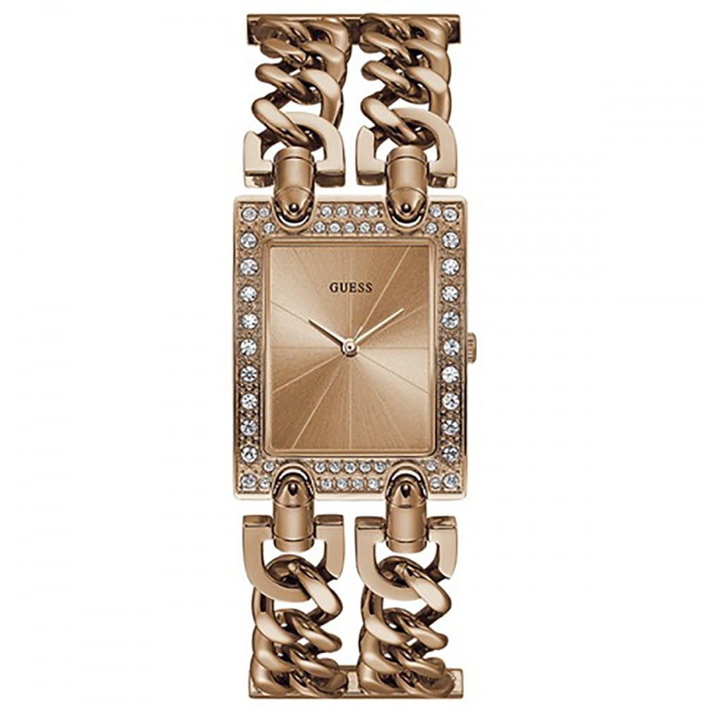 3ec6c7507c8789 Guess Ladies Heavy Metal Rose Gold Square Bracelet Watch Product Code:  W1121L3