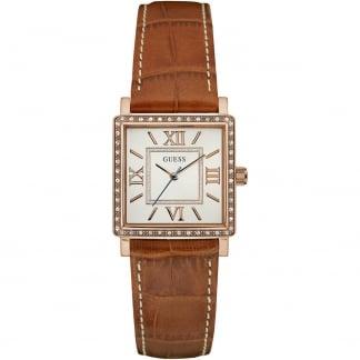 Ladies Highline Tan Leather Rose Tone Watch W0829L4