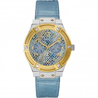 Ladies Jet Setter Blue Python Strap Watch W0289L2
