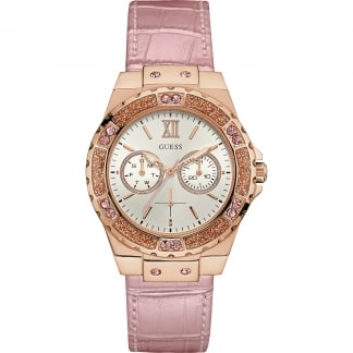 Ladies Limelight Pink Croco Leather Watch W0775L3