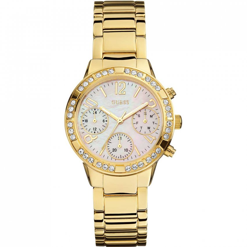 Guess Ladies Mini Glam Gold Tone Multi-Function Watch W0546L2