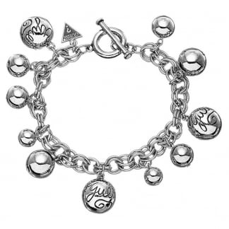 Ladies Multi-bead Silver Charm Bracelet