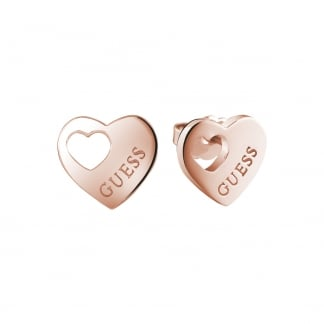 Ladies Rose Gold Cut Out 'Devotion' Earring Studs