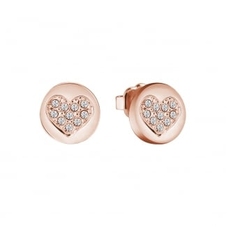 Ladies Rose Gold 'Devotion' Heart Disc Earring Studs