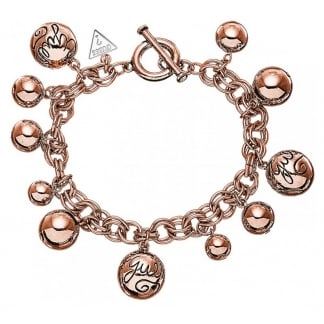 Ladies Rose Gold Multi-bead Charm Bracelet