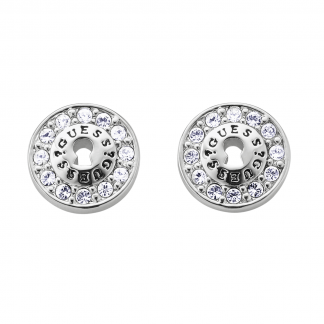 Ladies Silver Round Crystal Earrings
