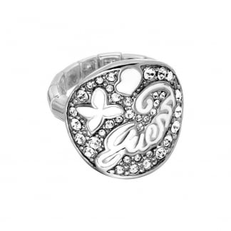Ladies Steel and Stone Set Expanding Ring