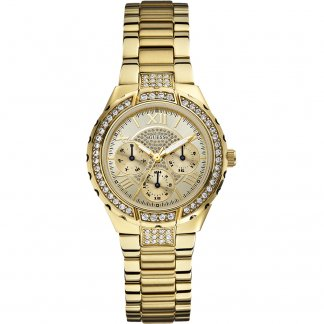 Ladies Stone Set Gold Tone Viva Bracelet Watch W0111L2