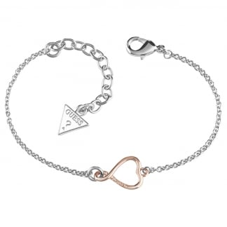 Ladies Two Tone 'Amour' Heart Bracelet