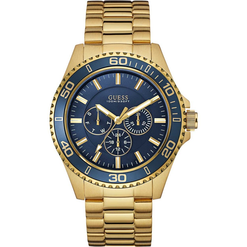 guess men s blue dial gold tone steel chaser watch watches from men 039 s blue dial gold tone steel chaser watch