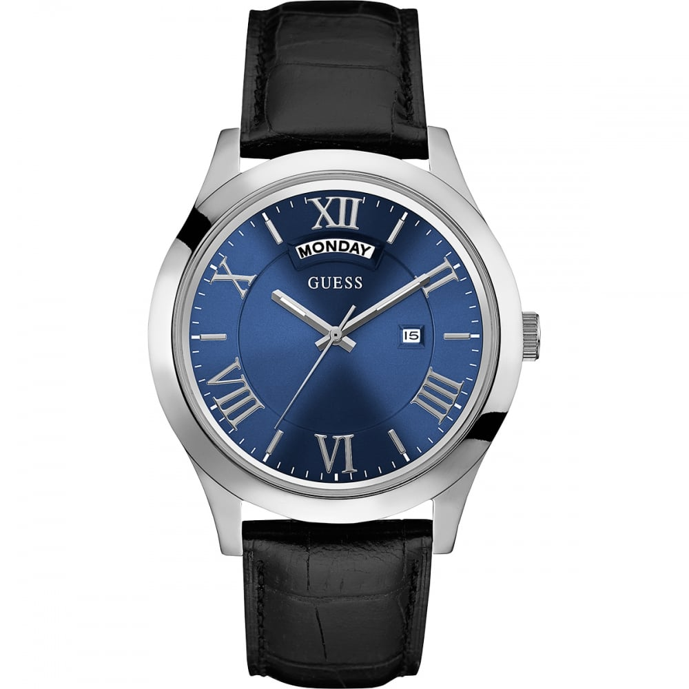 guess men s blue dial metropolitan day date watch watches from men 039 s blue dial metropolitan day date watch