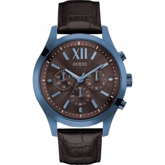 Men's Elevation Brown Leather Chronograph Watch W0789G2