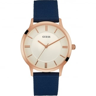 Men's Escrow Blue Leather Rose Plated Watch W0795G1