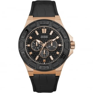 Men's Force Black Leather Rose Chronograph Watch