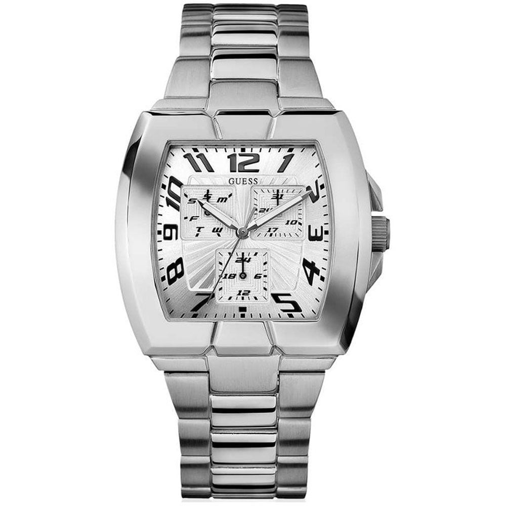 guess men s prism squared multi function steel watch watches men 039 s prism squared multi function steel watch