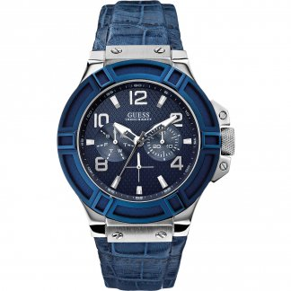Men's Rigor Blue Leather Multi-Function Watch W0040G7