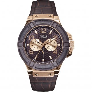 Men's Rigor Brown Strap Rose Gold Tone Watch W0040G3