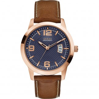 Men's Rose Gold District Watch with Blue Dial W0494G2