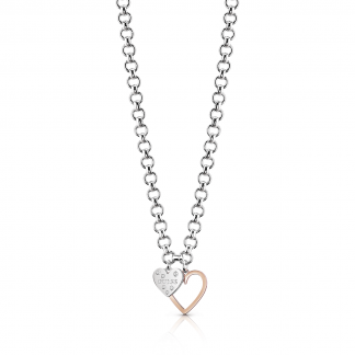 Two Tone 'Heart in Heart' Necklace