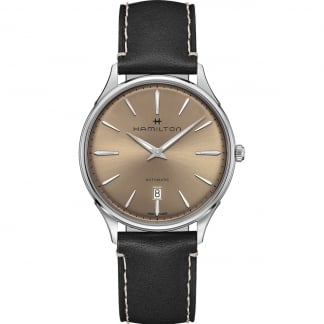 Men's Jazzmaster Thinline Automatic Black Leather Watch