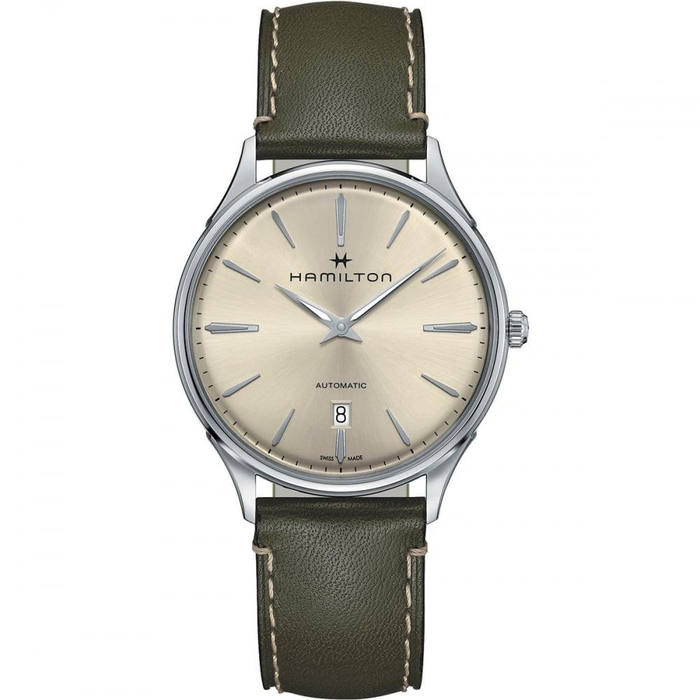 Hamilton Men S Jazzmaster Thinline Auto Green Leather Watch