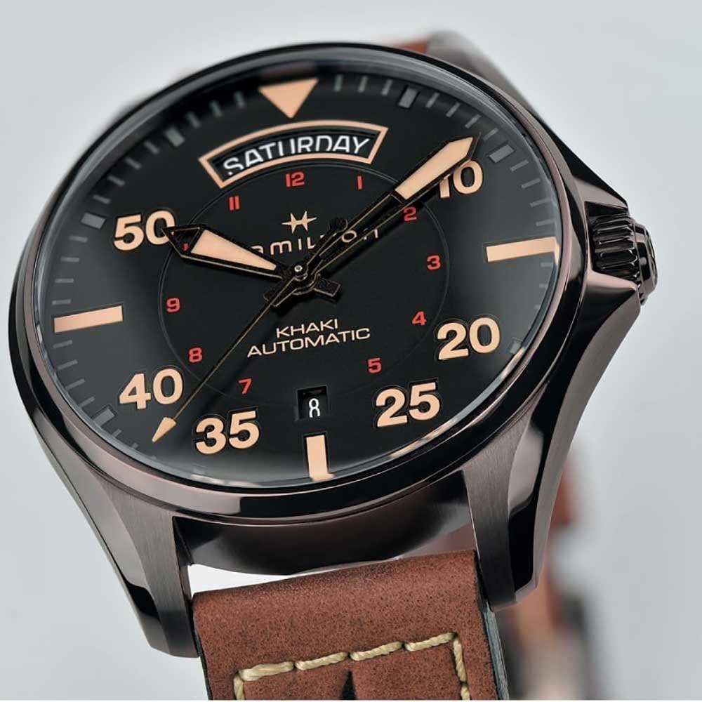Hamilton Men S Khaki Pilot Automatic Day Date Watch